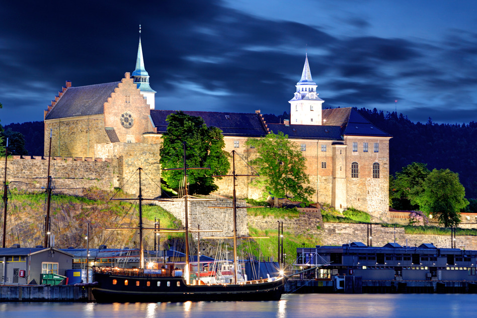 Akershus Fortress at night, Oslo, Norway