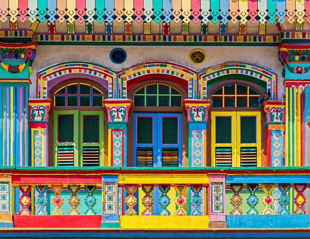 fargerikt hus i little india distriktet i singapore