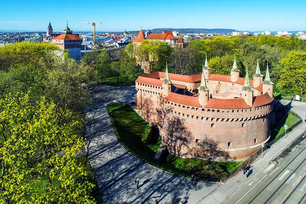 Kraków Barbican i planty park