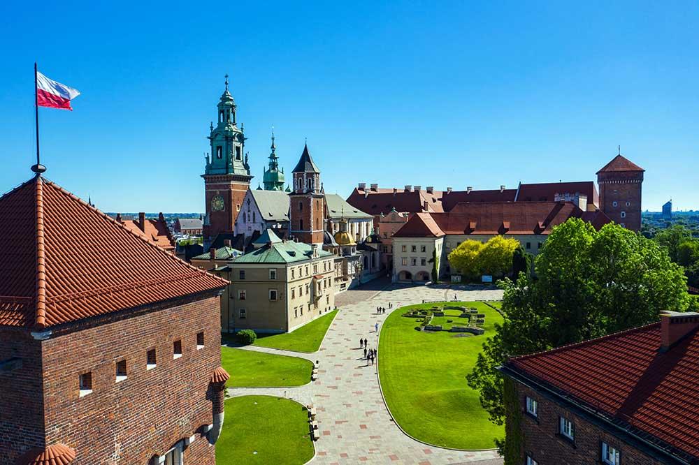 turist i krakow om sommeren