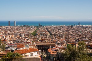 View of barcelona from Tibidano, Barcelona in the Spain,Europa
