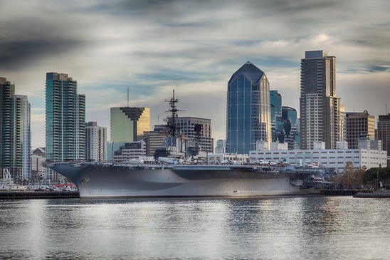 USS Midway Museum and San Diego Skyline