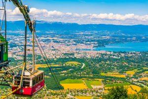 utsikt mot geneve fra Mont Saleve
