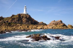 Corbière Lighthouse fyret på jersey