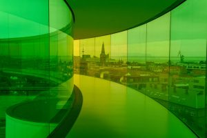 utsikt over aarhus fra ARoS Kunstmuseum